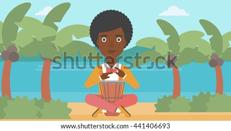 An african-american woman playing tomtom on the background of tropical beach with palm trees and the sea vector flat design illustration. Horizontal layout. - stock vector