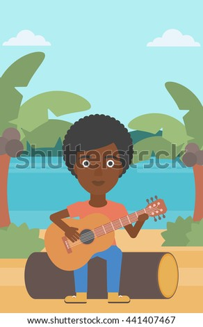 An african-american woman sitting on a log and playing a guitar on the background of tropical beach with palm trees and the sea vector flat design illustration. Vertical layout. - stock vector