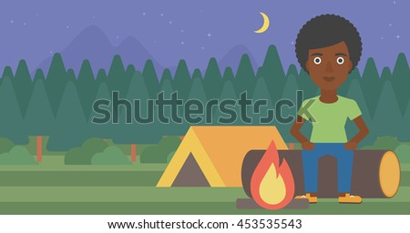 An african-american woman sitting on a log near a fire on a background of camping site with tent. Woman sitting near a campfire at a campsite. Vector flat design illustration. Horizontal layout. - stock vector