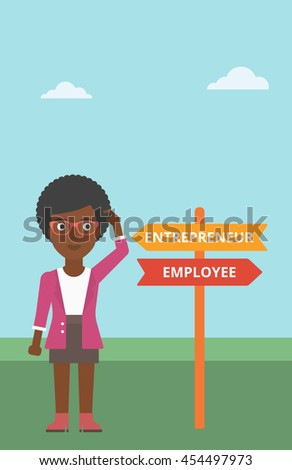 An african-american woman standing at road sign with two career pathways. Woman making a decision of her career pathway. Vector flat design illustration. Vertical layout. - stock vector