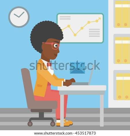 An african-american young business woman working on her laptop in office and receiving or sending email. Business technology, email concept. Vector flat design illustration. Square layout. - stock vector