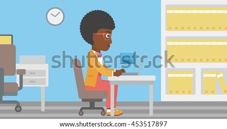 An african-american young business woman working on her laptop in office and receiving or sending email. Business technology, email concept. Vector flat design illustration. Horizontal layout. - stock vector