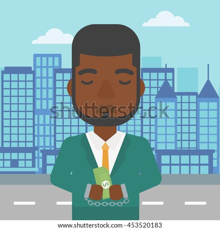 An african-american young businessman in handcuffs with money in hands on the background of modern city. Businessman handcuffed for crime. Vector flat design illustration. Square layout. - stock vector