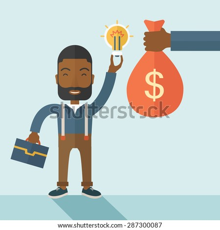 An african-american young man exchange his hand with idea bulb to hand of money bag. Exchanging concept. A contemporary style with pastel palette soft blue tinted background. Vector flat design - stock vector