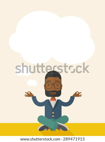 An african man closing his eyes thinking about on how the business will grow. Business concept. A Contemporary style with pastel palette, soft beige tinted background. Vector flat design illustration - stock vector