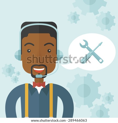 An african operator with headset as customer service helpdesk with screwdriver and combination wrench inside bubble. Call center concept. A Contemporary style with pastel palette, soft blue tinted - stock vector