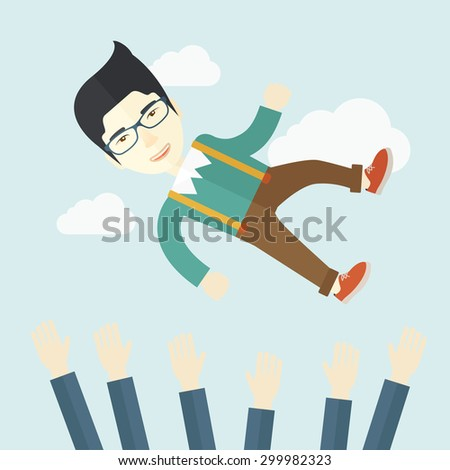 An aggressive japanese businessman being throwing up to the sky by his teamwork or colleague. Happiness concept. A contemporary style with pastel palette soft blue tinted background with desaturated - stock vector