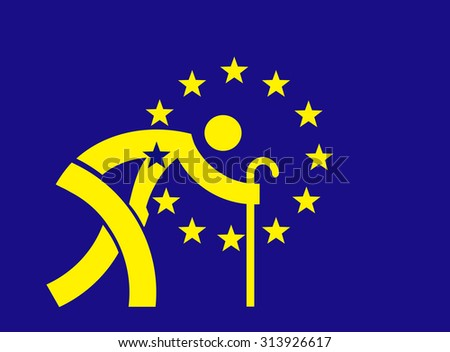 An aging Europe -European Union flag. Parody of European Union flag with symbol an old man with a cane.  Concept for An aging Europe and Economic Crisis.   - stock vector