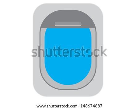 An Aircraft Window with Blue Sky. Vector - stock vector