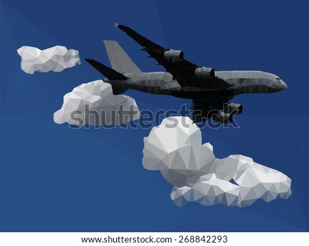 An airplane flying through a blue sky with clouds, low poly vector illustration. - stock vector