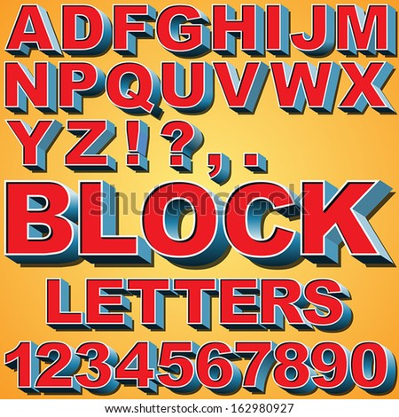 An Alphabet Set of 3D Block Letters and Numbers - stock vector