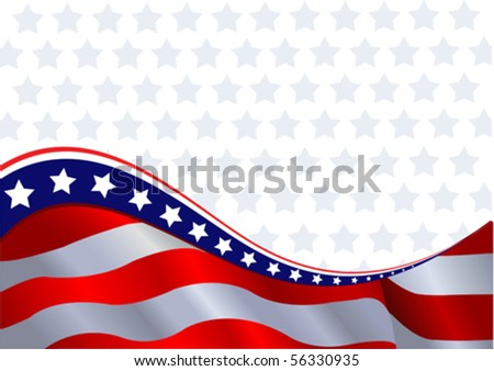 An American flag horizontal background - stock vector