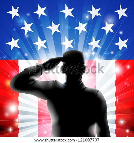 An American US military soldier from the armed forces in silhouette in uniform saluting in front of an American flag background of red white and blue stars and stripes. - stock vector