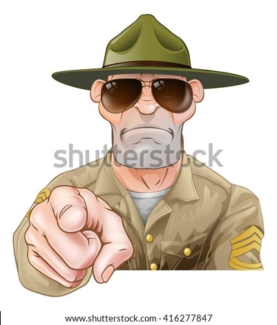 An angry looking cartoon army boot camp drill sergeant pointing - stock vector