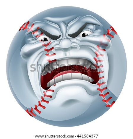An angry mean looking baseball ball sports cartoon mascot character - stock vector