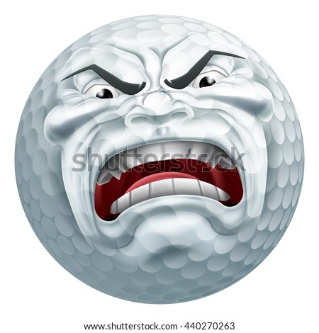 An angry mean looking golf ball sports cartoon mascot character - stock vector