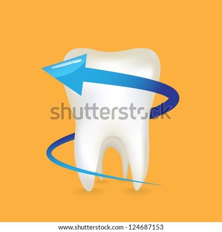 An arrow around the tooth - illustration - stock vector