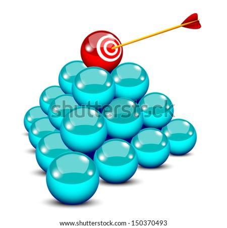 An arrow hits a target ball in a pyramid  - stock vector