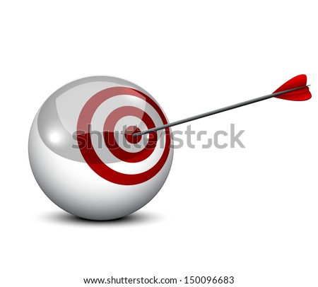 An arrow hits the target in a  balls - symbolizing targeted marketing - stock vector