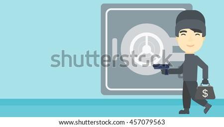 An asian  burglar in mask near the big safe door. Burglar holding hand gun and a bag with dollar sign. Thief stealing money. Vector flat design illustration. Horizontal layout. - stock vector