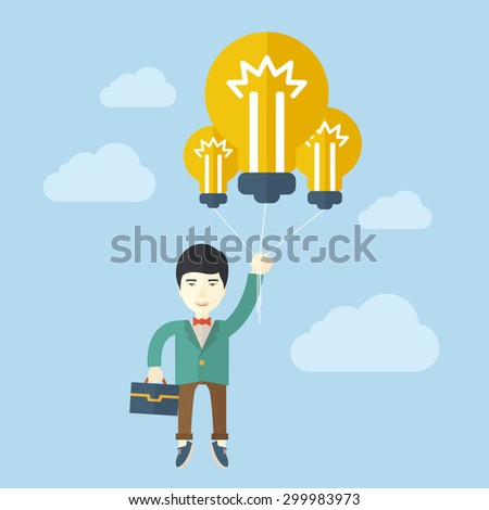 An asian businessman carrying a briefcase with bulb as balloon to take him fly high. Happy and success concept. A contemporary style with pastel palette soft blue tinted background with desaturated - stock vector