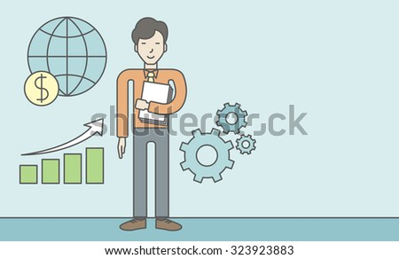 An asian businessman standing beside growing chart. Successful business concept. Vector line design illustration. Horizontal layout with a text space. - stock vector