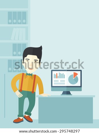 An asian guy standing  while presenting a graph in business from his computer inside his office. Leadership concept. A contemporary style with pastel palette soft blue tinted background. Vector flat - stock vector