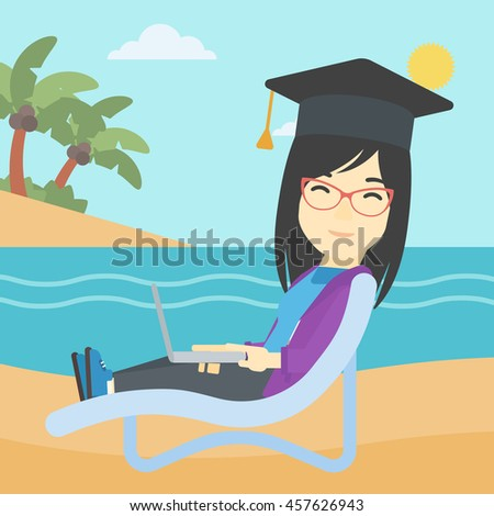 An asian happy graduate lying in chaise long. Young woman in graduation cap working on laptop. Graduate on a beach. Vector flat design illustration. Square layout. - stock vector