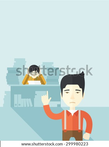 An asian office clerk has a lot of works to do with those papers in front of him, problem on how to meet the deadline of his report. Disappointment concept. A Contemporary style with pastel palette - stock vector