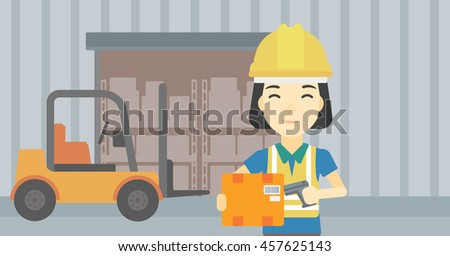 An asian warehouse worker scanning barcode on box. Warehouse worker checking barcode of box with a scanner. Woman in hard hat with scanner. Vector flat design illustration. Horizontal layout. - stock vector