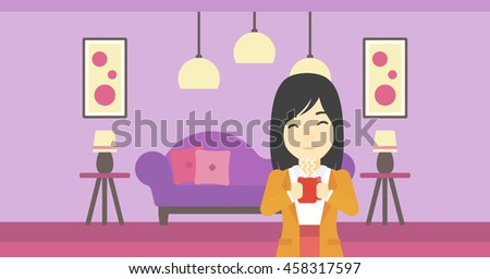 An asian woman drinking hot flavored coffee. Young smiling woman with cup of delicious coffee. Woman enjoying fresh coffee at home. Vector flat design illustration. Horizontal layout. - stock vector