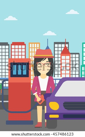 An asian woman filling up fuel into the car. Woman standing at the gas station and refueling a car. Vector flat design illustration. Vertical layout. - stock vector
