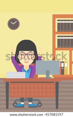 An asian  young business woman celebrating with arms up while sitting at the table in office. Successful business concept. Vector flat design illustration. Vertical layout. - stock vector