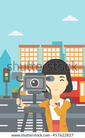 An asian young female cameraman looking through movie camera on a tripod. Young woman with professional video camera shooting in the city. Vector flat design illustration. Vertical layout. - stock vector