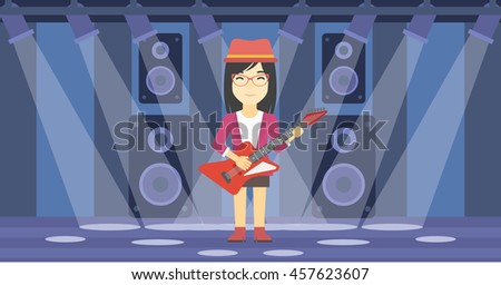 An asian young musician playing electric guitar on the stage of nightclub. Woman practicing in playing guitar. Guitarist playing music. Vector flat design illustration. Horizontal layout. - stock vector