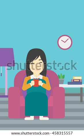 An asian young woman relaxing under blanket with cup of coffee. Woman drinking coffee at home. Woman holding a cup of hot flavored coffee or tea. Vector flat design illustration. Vertical layout. - stock vector