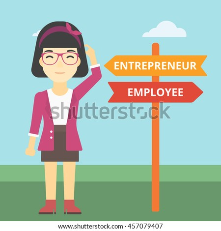 An asian young woman standing at road sign with two career pathways. Woman choosing career pathway. Woman making a decision of her career pathway. Vector flat design illustration. Square layout. - stock vector