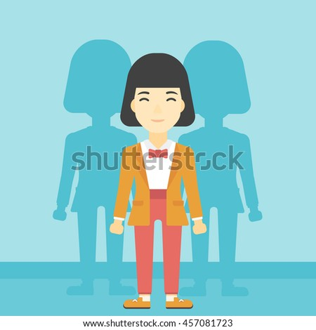 An asian young woman standing with some shadows behind her. Candidat for a position stand out from crowd. Concept of staff recruitment. Vector flat design illustration. Square layout. - stock vector