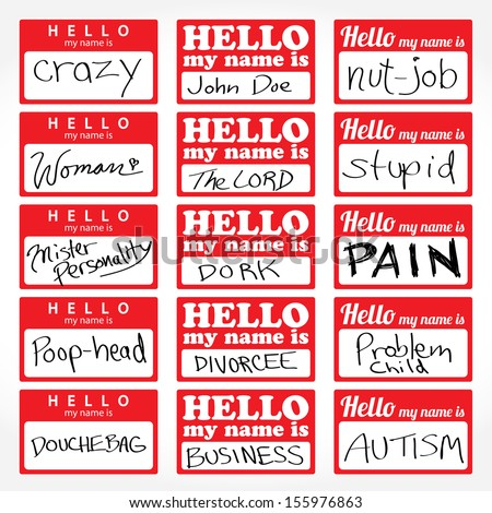 An assortment of Hello my name is temporary sticker lapel badges that are editable in vector format. - stock vector