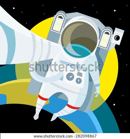 an astronaut in the planet orbit - stock vector