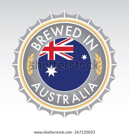 An Australian beer cap crest in vector format. The bottle cap features the Australian flag flanked by two golden wheat icons. - stock vector