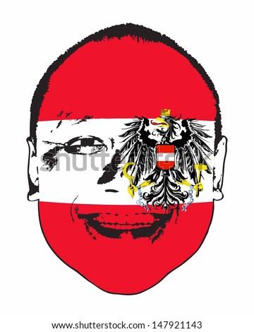 An Austria flag on a face, isolated against white.  - stock vector