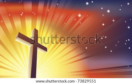 An awesome Christian cross bathed in light - stock vector