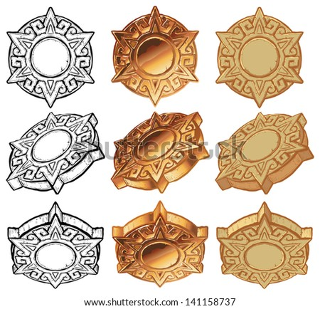 An aztec style sun medallion vector icon set. Includes the medallion graphic element shown from 3 angles, in 3 color variations of each: black and white, metallic gold, and stone. - stock vector