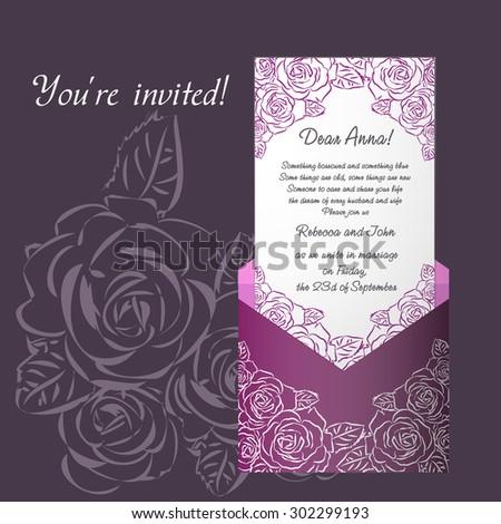 an e-mail invitation for wedding, wedding design template - stock vector