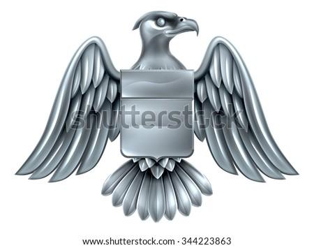 An eagle silver metal shield heraldic heraldry coat of arms design. - stock vector