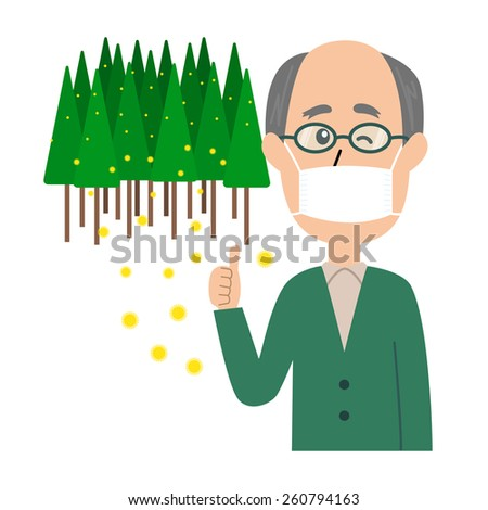 An elderly man winking with a mask and glasses on, allergy caused by cedar pollen, vector illustration - stock vector