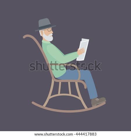 An elderly man with glasses and a beard sitting in a rocking chair and reading a newspaper. Vector Illustration. - stock vector