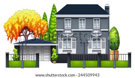 An elegant house on a white background - stock vector