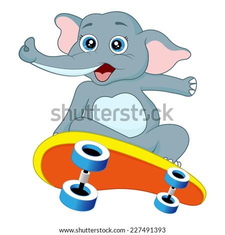 An elephant is skateboarding - stock vector